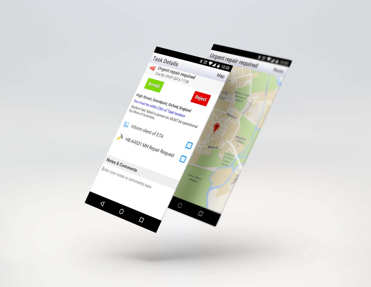 Assign tasks and jobs to mobile works with location and directions