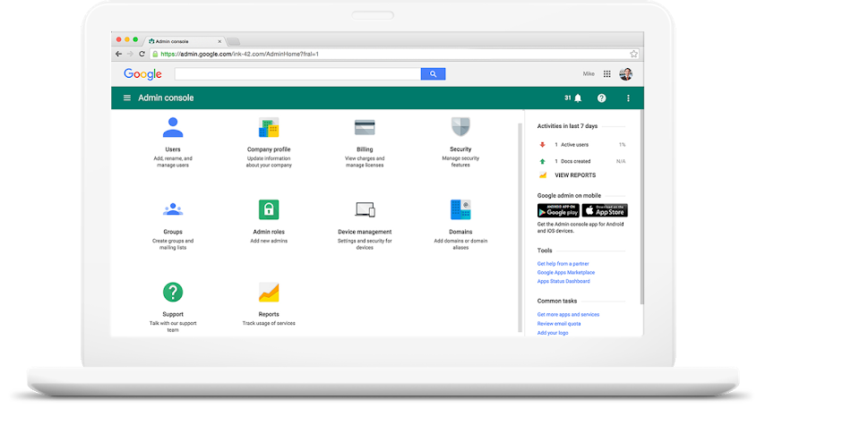 google admin console on a laptop