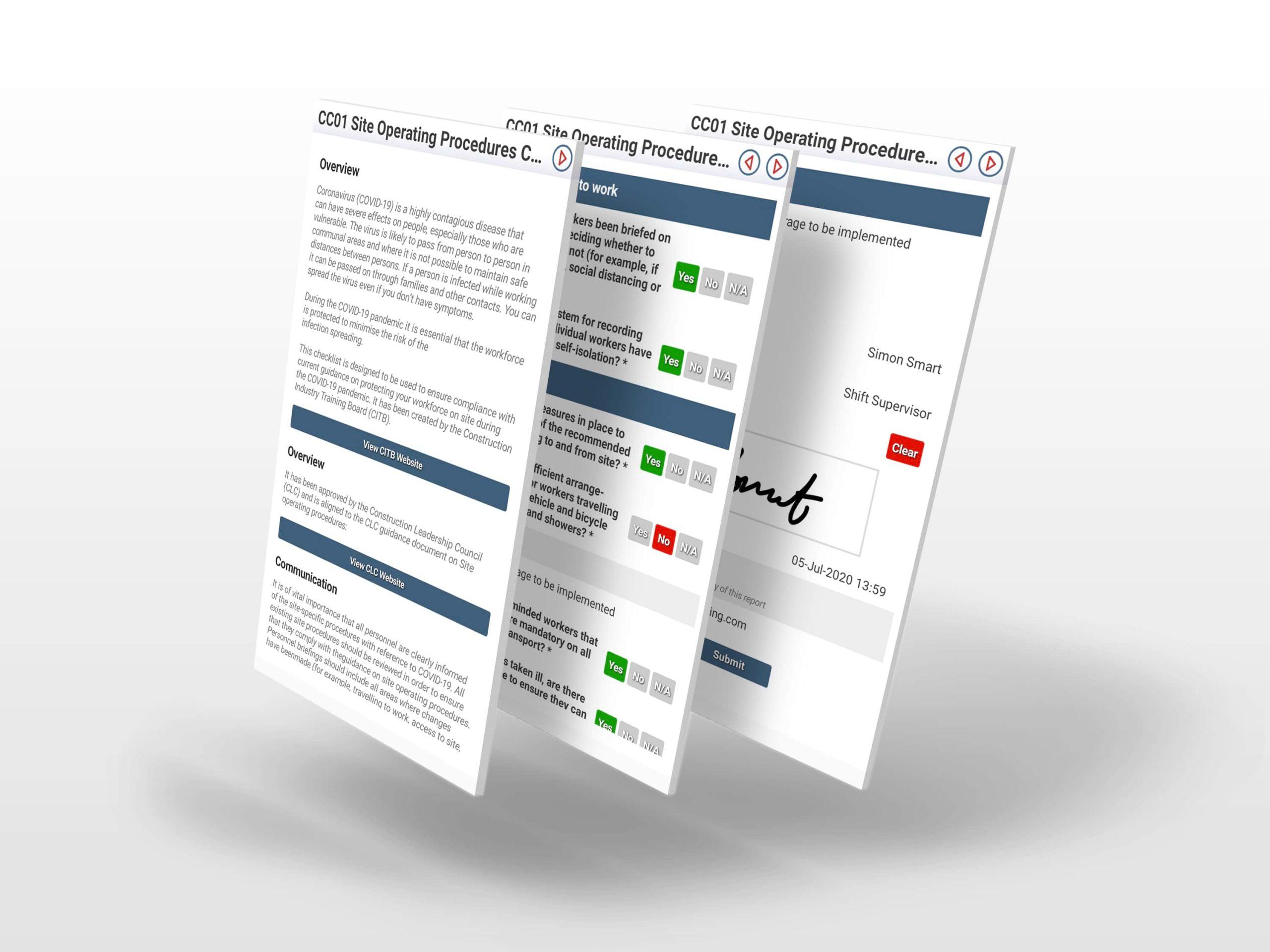 Site Operating Procedure Screenshots