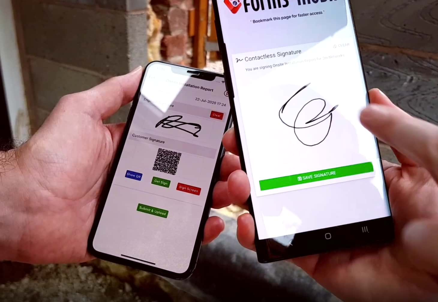 Contactless Signatures for COVID-19